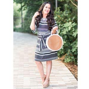NWT Ann Taylor Mint Stripe Tie Waist Shift Dress